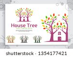 tree house vector logo made... | Shutterstock .eps vector #1354177421