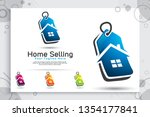 home price tag vector logo with ... | Shutterstock .eps vector #1354177841