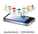 emails and phone illustration... | Shutterstock . vector #135418364