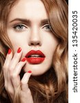 beautiful young model with red... | Shutterstock . vector #135420035