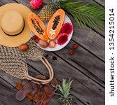summer tropical composition.... | Shutterstock . vector #1354215014