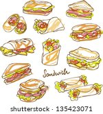Vector sandwich doodle - stock vector