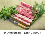 bacon slices close up. sliced...   Shutterstock . vector #1354245974