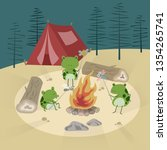 the frogs roasting insects... | Shutterstock .eps vector #1354265741