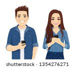 young people in casual denim... | Shutterstock .eps vector #1354276271