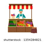 farmer selling fruit and... | Shutterstock .eps vector #1354284821