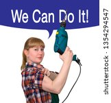 parody of the famous poster We can do it - woman in work overalls demonstrates biceps holding a hand-held corded electric drill, isolated on white background