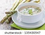 fresh asparagus soup in a bowl   Shutterstock . vector #135430547