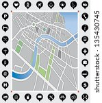 vector background of a city map ... | Shutterstock .eps vector #135430745