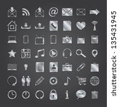 set of 50 metal media icons.... | Shutterstock .eps vector #135431945