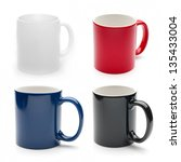 Set Of Different Mugs Isolated...