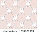 Stock vector rabbit pattern texture cute vector cartoon background bunny foot and tail rabbit children 1354352174