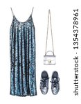 long dress in sequins on the... | Shutterstock . vector #1354378961