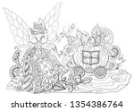 fairy godmother turns a pumpkin ... | Shutterstock .eps vector #1354386764