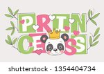 cute panda face with crown ...   Shutterstock .eps vector #1354404734