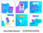 six set modern wave fluid... | Shutterstock .eps vector #1354431041