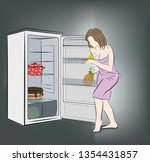 woman at night sneaks to the... | Shutterstock .eps vector #1354431857