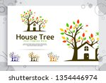 tree house vector logo made... | Shutterstock .eps vector #1354446974