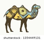 camel double exposure animals.... | Shutterstock .eps vector #1354449131