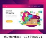 online shopping  mobile... | Shutterstock .eps vector #1354450121