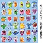 cartoon cute monsters   Shutterstock .eps vector #135448715