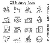 oil industry icon set in thin... | Shutterstock .eps vector #1354494071