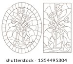 set of contour illustrations in ... | Shutterstock .eps vector #1354495304