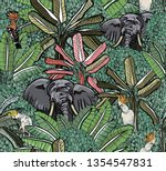 elephants and exotic birds...   Shutterstock .eps vector #1354547831