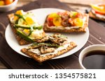 breakfast table with tasty... | Shutterstock . vector #1354575821