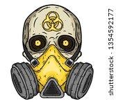 skull. skull with gas mask.... | Shutterstock .eps vector #1354592177