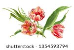 hand painted watercolor floral...   Shutterstock . vector #1354593794