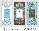 brown and blue vintage... | Shutterstock .eps vector #1354603544
