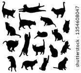 Stock vector set vector silhouettes of the cat different poses standing jumping and sitting black color 1354608047