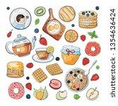 set of morning breakfast... | Shutterstock .eps vector #1354636424