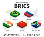 brics flag . association of 5... | Shutterstock .eps vector #1354641734