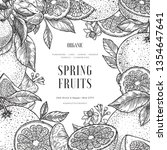 citrus frame design template.... | Shutterstock .eps vector #1354647641