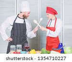 woman and bearded man culinary... | Shutterstock . vector #1354710227