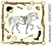 horse equestrian riding gear... | Shutterstock .eps vector #1354718057