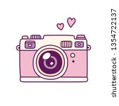 vintage photo camera  cute pink ... | Shutterstock . vector #1354722137