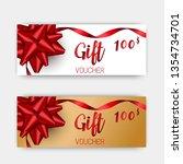 luxury gift vouchers set. red... | Shutterstock .eps vector #1354734701
