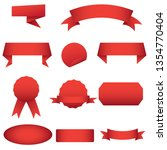 red ribbon label vector design   Shutterstock .eps vector #1354770404