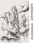 alpine landscape vector drawing.... | Shutterstock .eps vector #1354783874