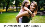 little girl with special needs... | Shutterstock . vector #1354788017