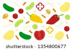 vegetables  tomatoes  cucumbers ... | Shutterstock .eps vector #1354800677