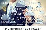 businessman with social media... | Shutterstock . vector #135481169