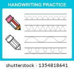 handwriting practice sheet... | Shutterstock .eps vector #1354818641