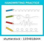 handwriting practice sheet... | Shutterstock .eps vector #1354818644