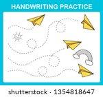 handwriting practice sheet...   Shutterstock .eps vector #1354818647