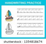 handwriting practice sheet... | Shutterstock .eps vector #1354818674