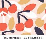 seamless fashion cherries... | Shutterstock .eps vector #1354825664